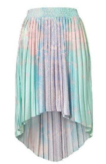 Green Asymmetrical Pleated High Low Skirt