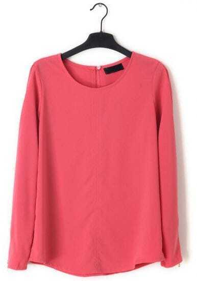 Pink Long Sleeve Cuff Zipper Chiffon Blouse