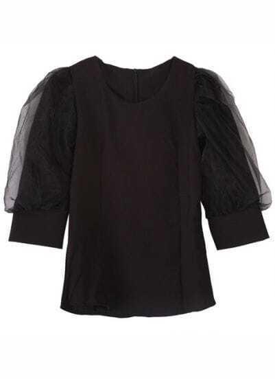 Black Mesh Yoke Puff Sleeve Back Zipper Blouse