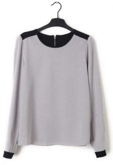 Grey Long Sleeve Back Zipper Chiffon Blouse