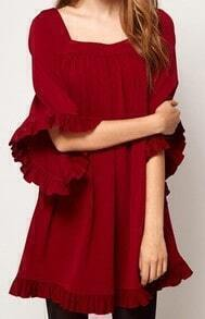 Wine Red Ruffles Puff Sleeve Loose Dress