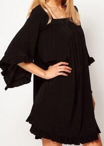 Black Ruffles Puff Sleeve Loose Dress