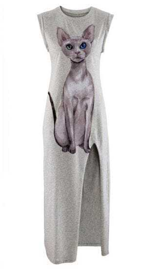 Light Grey Cat Print Split Tank Dress