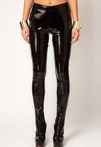 Black Punk Patent PU Leather Leggings