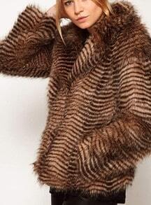 Brown Long Sleeve Striped Fur Coat