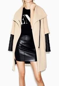 Camel Lapel Contrast Sleeve Zipper Coat