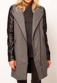 Grey Contrast PU Leather Sleeve Zipper Trench Coat