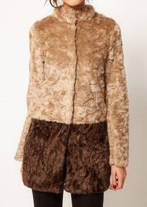 Brown Khaki Stand Collar Long Sleeve Fur Coat