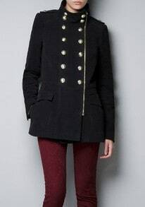Black Long Sleeve Zipper Buttons Embellished Coat