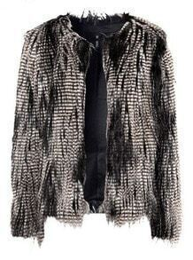 Peacock Feathers Long Sleeve Buttons Fur Coat