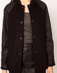 Black Contrast PU Leather Long Sleeve Jacket