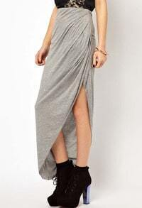 Grey Asymmetrical Split Pleated Skirt