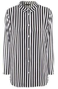 Black White Vertical Stripe Chiffon Blouse