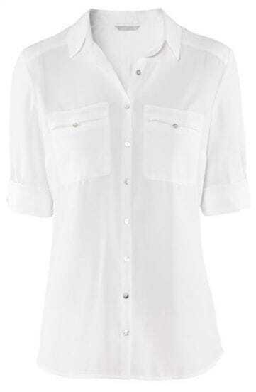 White Lapel Buttons Pockets Chiffon Blouse
