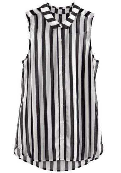 Blusa gasa rayas verticales sin mangas-Negro&Blanco