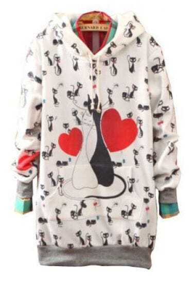 White Hooded Heart Cats Print Loose Sweatshirt