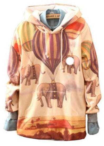 Yellow Hooded Balloon Elephant Print Sweatshirt