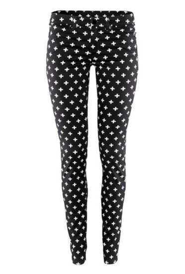 Black Skinny Cross Print Elastic Pant