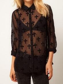 Black Long Sleeve Cross Print Sheer Mesh Yoke Blouse