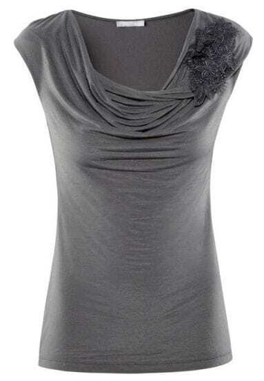 Grey Short Sleeve Embroidery Pleated T-Shirt