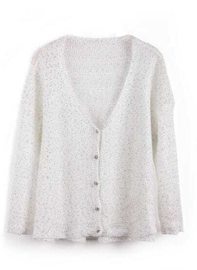 White V Neck Long Sleeve Sequined Cardigan Sweater