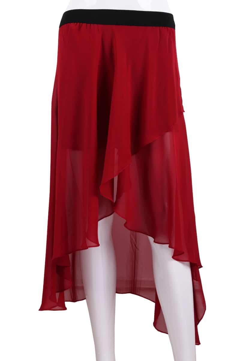 asymmetrical high low chiffon skirt shein sheinside