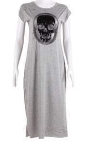 Grey Short Sleeve Hollow Skull Print Dress