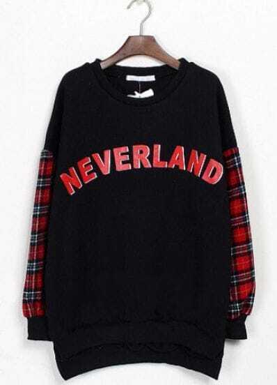 Black Contrast Plaid Long Sleeve Letters Print Sweatshirt