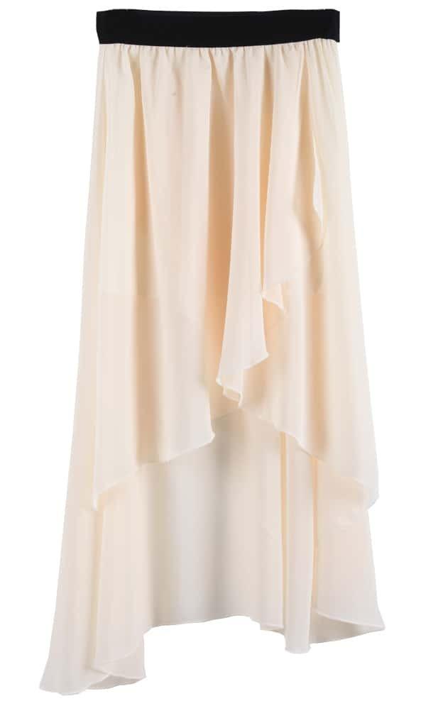 apricot asymmetrical high low chiffon skirt shein sheinside