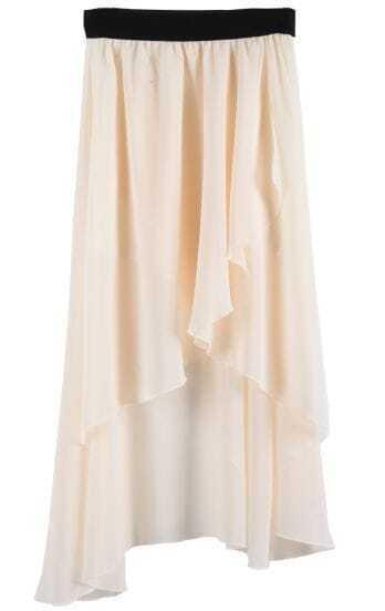 Apricot Asymmetrical High Low Chiffon Skirt
