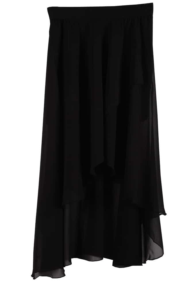black asymmetrical high low chiffon skirt shein sheinside