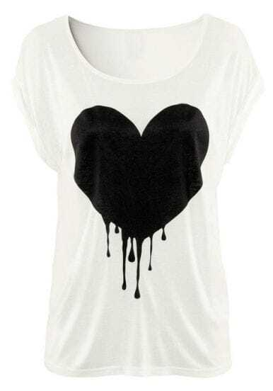 White Short Sleeve Drop Heart Print T-Shirt