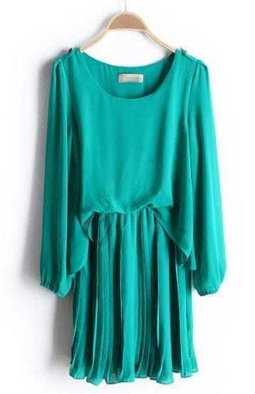 Green Long Sleeve Epaulet Pleated Chiffon Dress