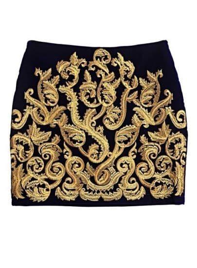 Black Metallic Yoke Embroidery Skirt