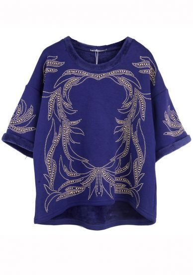 Blue Short Sleeve Beading Totem Sweatshirt