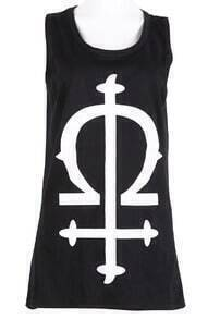 Black Sleeveless Cross Print Tank Dress