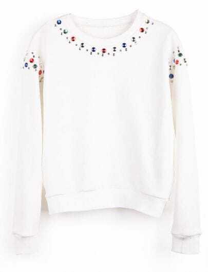 White Long Sleeve Multi Beading Sweatshirt