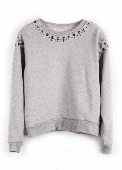 Grey Long Sleeve Multi Beading Sweatshirt
