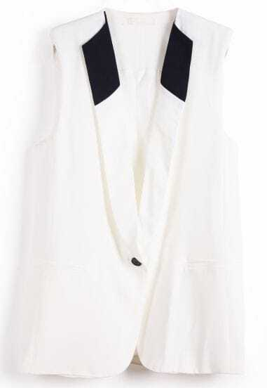 White Lapel Sleeveless Shoulder Pads Vest