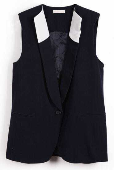 Navy Lapel Sleeveless Shoulder Pads Vest