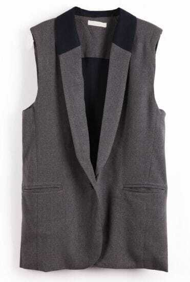 Grey Sleeveless Shoulder Pads Pockets Vest