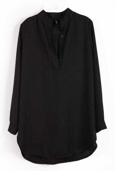 Black Long Sleeve Buttons Loose Chiffon Blouse