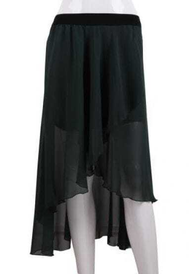 Dark Green Asymmetrical High Low Chiffon Skirt