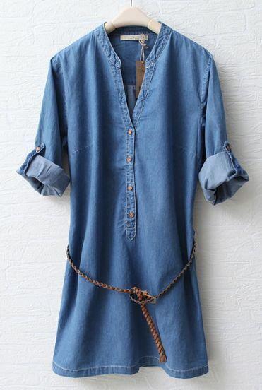Blue Stand Collar Long Sleeve Denim Dress