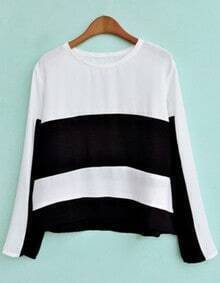 Black White Striped Long Sleeve Chiffon Blouse