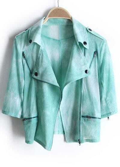 Green Half Sleeve Epaulet Bleached Crop Coat