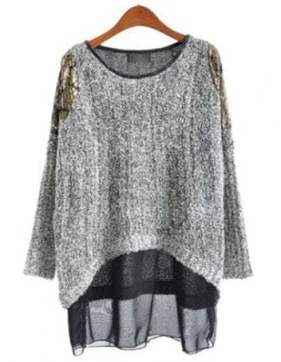 Grey Long Sleeve Contrast Chiffon Loose Sweater