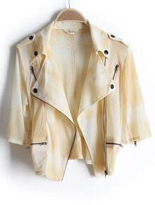 Yellow Half Sleeve Epaulet Bleached Crop Coat