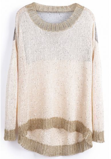 Beige Long Sleeve Metallic Yoke Hollow Sweater