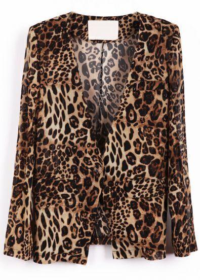 Coffee Leopard Long Sleeve Pockets Suit